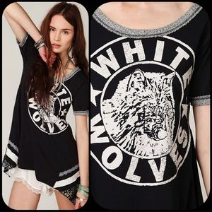 Free People/ We the Free White Wolves Tunic Tee